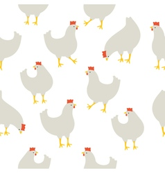 Chicken pattern white vector image vector image