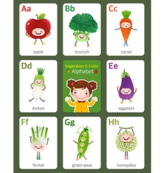 Flashcard alphabet from A to H vector image vector image