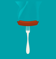flat sausage on a fork vector image
