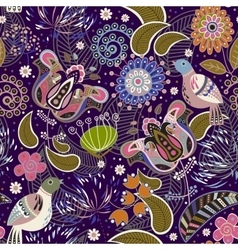 Paisley seamless pattern with birds vector image