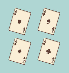 vintage black four aces cards vector image