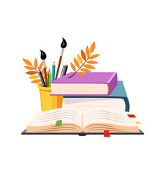 books pile and writing tools set of school and vector image vector image