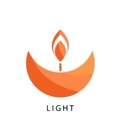 Candle logo template Stylized religion and vector image