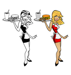 cute waitress woman holding food tray with burger vector image