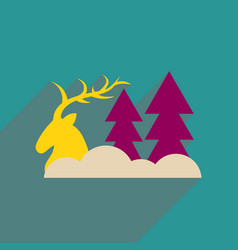 Flat web icon with long shadow deer forest vector