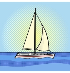 Sailing yacht pop art style vector image