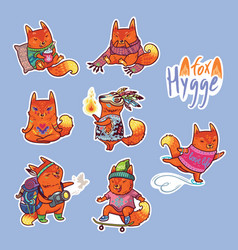 animal set of stickers with fox vector image