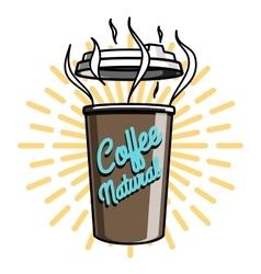 Color vintage coffee emblem vector image vector image