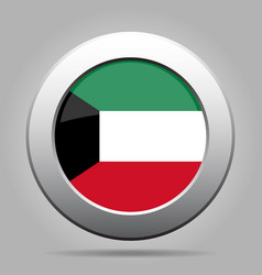 flag of kuwait shiny metal gray round button vector image vector image