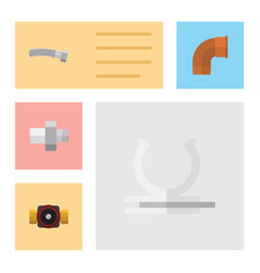 flat icon industry set of iron connector conduit vector image vector image