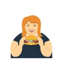Happy fat woman eating a big hamburger vector image
