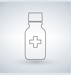 linear pill bottle icon with medical cross modern vector image
