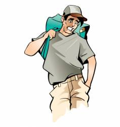 man with bag vector image vector image