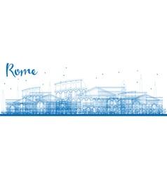 Outline Rome skyline with blue landmarks vector image vector image