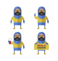 Scientist in protective yellow gear cartoon style vector