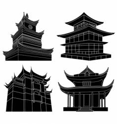 chinese pagoda silhouettes vector image vector image