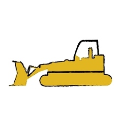 drawing bulldozer truck construction sign vector image