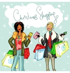 Happy women with shopping bags vector image vector image