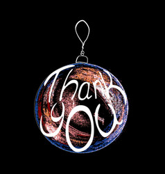 red ball of christmas on black background thank vector image vector image