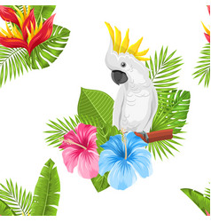 seamless exotic pattern with parrot cockatoo and vector image