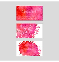 Set of business cards with watercolor background vector image vector image