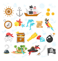 set of pirate adventure icons vector image
