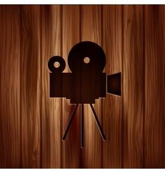 Video camera icon Media symbol Wooden texture vector image