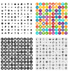 100 hobby icons set variant vector