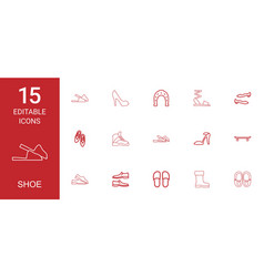 15 shoe icons vector