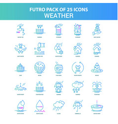 25 green and blue futuro weather icon pack vector