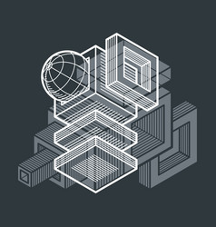 abstract isometric dimensional shape made using vector image