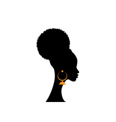 African american woman curly afro hairstyle vector