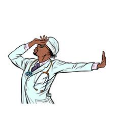 african doctor man medicine shame denial gesture vector image
