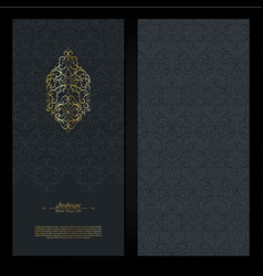 Arabesque abstract eastern element dark and gold vector