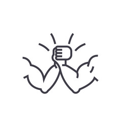 Arm wrestling concept thin line icon vector