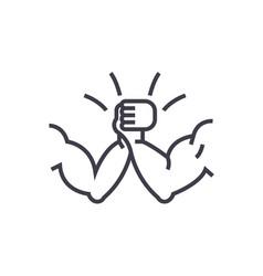 Arm wrestling concept thin line icon vector