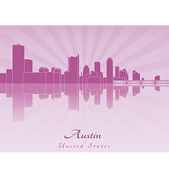 Austin skyline in purple radiant orchid vector
