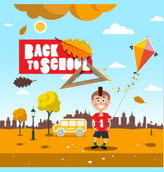 back to school autumn landscape with kite boy and vector image