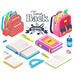 Back to school bag and books ruler and glue set vector