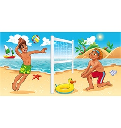 Beach Volley scene vector