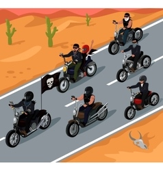 Bikers Riding on the Highway Design vector
