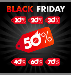 black friday discount hot sale label vector image