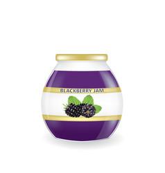 blackberry jam jar vector image