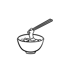 bowl of noodles hand drawn sketch icon vector image