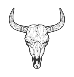Bull skull native Americans tribal style Tattoo vector image
