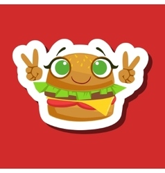 Burger Sandwich Smiling Showing Peace Gesture vector image