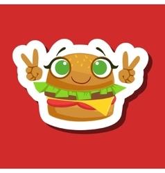 Burger Sandwich Smiling Showing Peace Gesture vector