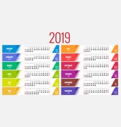 calendar for 2019 year design print vector image