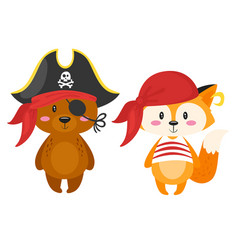 characters in pirate costumes vector image