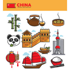 China tourism travel landmarks and chinese culture vector